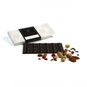 Chocolate negro suave con Semillas de Calabaza, Pistachos, Frambuesa y Almendras