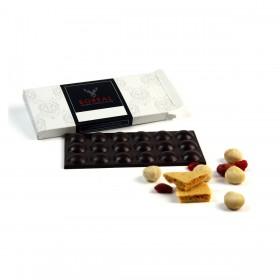 Chocolate negro afrutado con Nueces de Macadamia, Sponge Toffee y Frambuesa