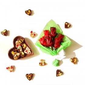 Ramo de flores de chocolate y corazón con sorpresa
